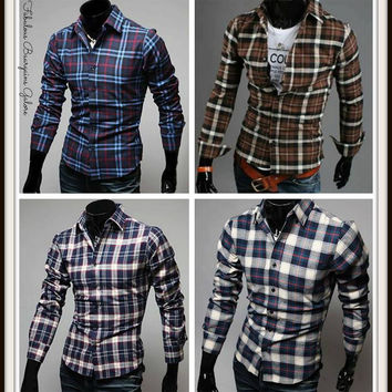 Mens Casual Slim fit Check Shirt
