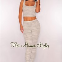 White Gray Marled Hoodie Two Piece Set