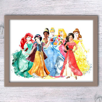Disney princess poster Girls room wall art Disney princesses watercolor print Nursery room decor Kids room wall art Baby shower gift V200