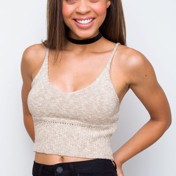 Zoe Knit Crop Top - Oatmeal