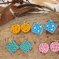Delicate color Dangle earrings Polymer clay jewelry Polka dots pink turquoise earrings polymer clay Holes Round square earrings jewelry gift