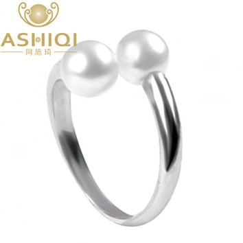 ASHIQI Real 925 sterling silver rings for women Perfectly Round Natural Freshwater pearl jewelry, double Pearl rings