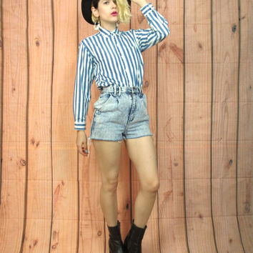 80s Blue Jean Striped Button Down Shirt Preppy Pinstripe Womens Long Sleeve Collared Shirt (XS)