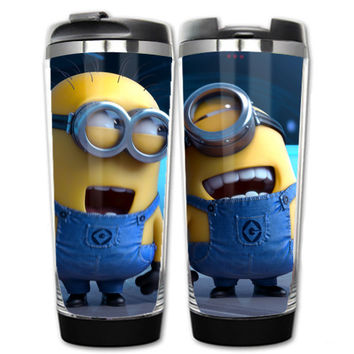 Minions travel coffee mug plastic or stainless steel