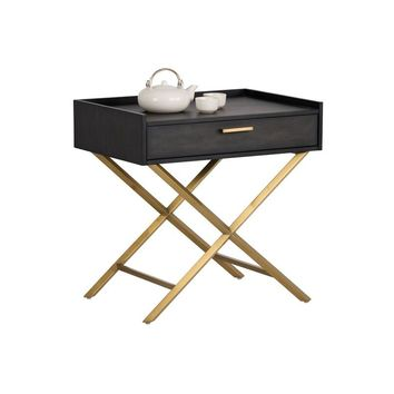 TAMA SMOKED GREY ACACIA WOOD VENEER WITH TRAY TOP AND BRUSHED BRASS LEGS END TABLE