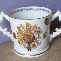 Vintage Aysnley china loving cup, Prince of Wales marriage to Lady Diana Spencer wedding cup, 1981, wedding gift for bride