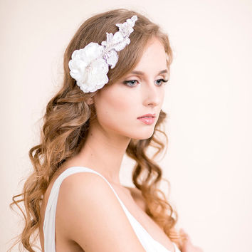 Bridal Headpiece with Rhinestones and Lace - Bridal Flower Headpiece - Wedding Headpiece - Bridal Rhinestone Headpiece - Ivory, Soft white