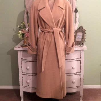 Camel Coat, Saks Fifth Avenue, Exquisitely Soft Winter Coat, M/ML, Wool Coats, Camel Hair Wrap Coat w Tan Satin Lining, Absolutely Fabulous!