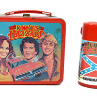 Vintage 80s The Dukes of Hazzard Aladdin Metal Lunchbox w/ Thermos