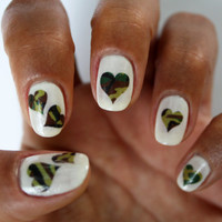 Camo Hearts - Nail Decals - Nail Art