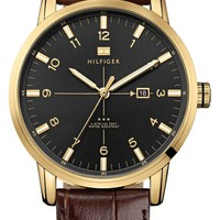 Men's Tommy Hilfiger Round Embossed Leather Strap Watch, 44mm