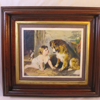 """Antique Victorian Picture Baby Dog """"Can't You Talk"""" George A. Holmes Print Victorian Walnut Frame Gilt Liner 18 x 16 inches"""