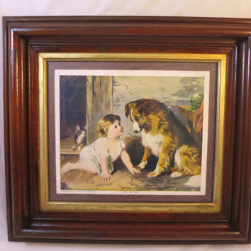 "Antique Victorian Picture Baby Dog ""Can't You Talk"" George A. Holmes Print Victorian Walnut Frame Gilt Liner 18 x 16 inches"