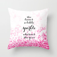 She leaves a little sparkle wherever she goes in pink Throw Pillow by BlursbyaiShop