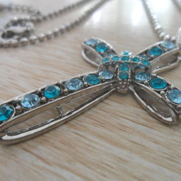 blue cross necklace --silver and diamond Cross Necklace with Cubic Zirconia - minimalist fashion necklace