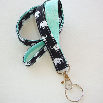 Lanyard  ID Badge Holder - Black and white elephants with mint green  - Lobster clasp and key ring
