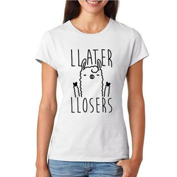 Later Losers Llama T-shirt Women Fashion Harajuku Tumblr Women Clothing Hipster Slogan Print Tops  Funny Graphic Tee Shirt Femme