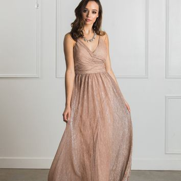 Ava Blush Metallic Maxi Dress