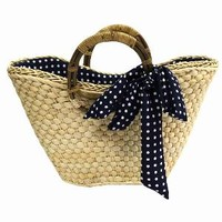 SHOP.COM - STRAW BEACH TOTE BAG W/ NAVY BLUE POLKA DOT SCARF