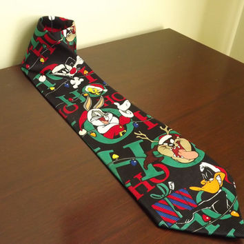 Christmas Tie, Looney Tunes Tie, Cartoon Novelty Necktie, Bugs Bunny Vintage Necktie, Daffy Duck, Tasmanian Devil, Tweety Bird, Sylvester