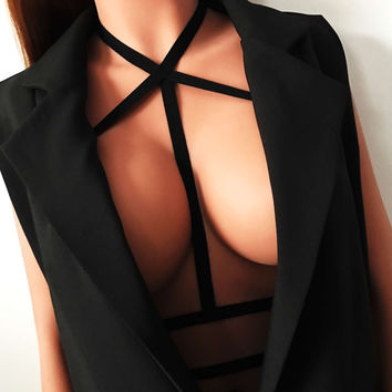 Sexy Tie Jacket Solid Color Elastic Band Fashion Bandage [9590197507]