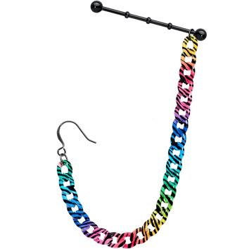 Handcrafted Rainbow Zebra Stripe Industrial Barbell Chain Earring 38mm