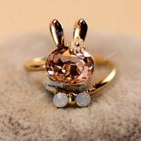 HOT Lovely Cute Sweet Gem Stone Rhinestone Little Rabbit Ring Wholesale NEW FJ68