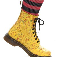 Vintage 90's Flower Power Yellow Docs - US 8