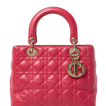 Christian Dior Women's Pink Quilted Cannage Lambskin Lady Dior Medium