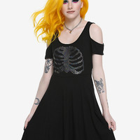 Black Iridescent Rib Cage Cold Shoulder Dress