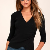Just My Type Black Long Sleeve Wrap Top