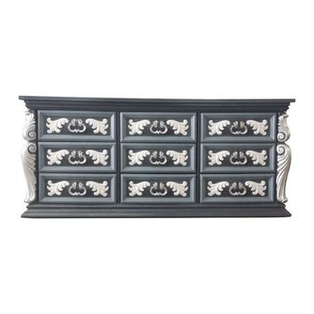 Pre-owned Hollywood Regency Custom Painted Silver Dresser
