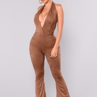 Good Times Coming Suede Jumpsuit - Brown