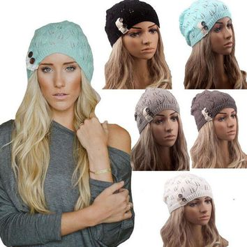 HQ 2017 Fashion Girls Women Winter Knitting Hat Casual Hollow Out Leaves Lace Button Wool Hat Female Baggy Warm Hat Cap NXH2294