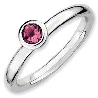 Round Low Profile 4mm Pink Tourmaline Stackable Ring