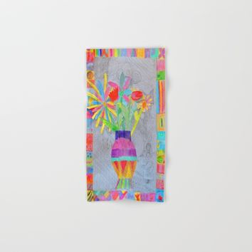 Flower Vase | Kids Painting | 3D Collage Hand & Bath Towel by Azima