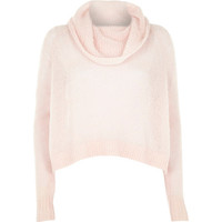 River Island Womens Pink mohair cowl neck knitted sweater