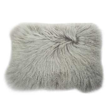 A Home Mongolian Lamb Fur Rectangular Pillow, Gray White n/a