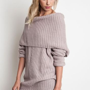 Chunky Fold Over Ribbed Sweater