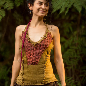 Tinkerbell top (Green/Brown) - Doofs Tribal Goa Singlet Sleeveless Hippie Gypsy Nomadic Desert Sexy Stylish