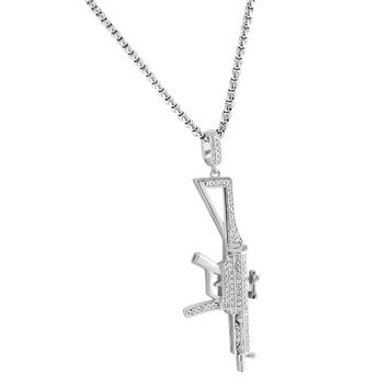 "Designer Men's Ak-47 Assault Gun Rifle Charm weapon Iced-out Silver Pendant Free 24"" Steel Box Chain"