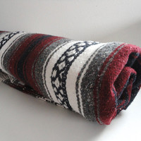 Vintage Mexican Blanket // Southwestern Striped Wall Hanging Burgundy, Black, Navy, Grey and White
