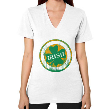 Irish four leaf dripping clover V-Neck (on woman)