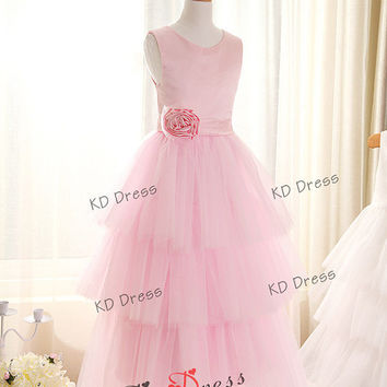 ON SALE!!!Tiered Tulle Skirt Pink Satin Flower Girl Dress Children Birthday Party Dress Kids Dress with Sash/Flower(Z1018)