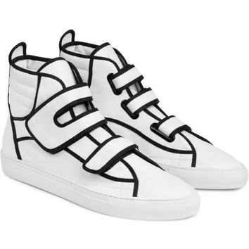 Raf Simons White Velcro High-Top Sneakers | HYPEBEAST Store.