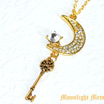 239648370 Sailor Moon Necklace - Sailor Moon's Moon Stick in the Form of a