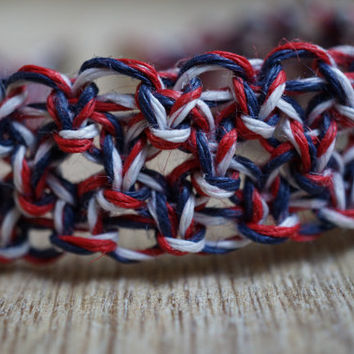 Patriotic Bracelet, USA Bracelet, Hemp Bracelet, Friendship Bracelet, LIMITED EDITION