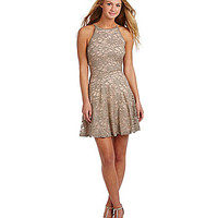 Honey and Rosie Glitter Lace Skater Dress - Taupe/Mult