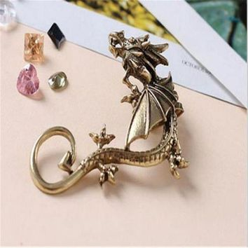 Dragon Earrings Non Pierced Clip On Earrings Fake Ear Cartilage Cuff Ear Ring (bronze)