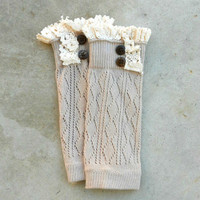 Beige Crochet & Lace Boot Cuffs [6562] - $14.00 : Vintage Inspired Clothing & Affordable Dresses, deloom | Modern. Vintage. Crafted.